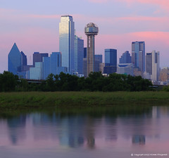Southern dream (Michael Fitzgerald (micfitz)) Tags: city pink blue usa water skyline reflections dallas downtown flood pastelcolors