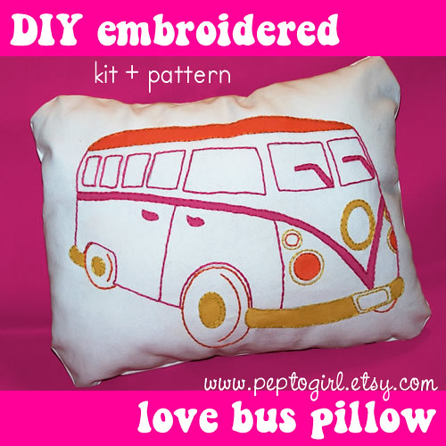 "DIY love bus pillow"" kit + pattern"