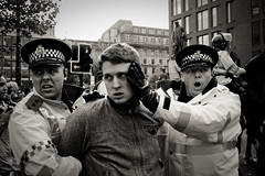 Fear and Regret (pixeljunkie_) Tags: people english gardens manchester demo riot force united protest police piccadilly bnp brutality piccadillygardens metropolitan defence league arrest facism savedbythedeletemeuncensoredgroup edl