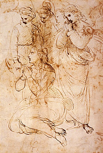 1507  Raphael    Studies for the EntomBibliothиque municipaleent, A group of figures in a Lamentation  Pen and brown Ink  25x16,9 cm  Londres, British Museum