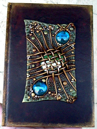 Blank journal basket weave and blue gems