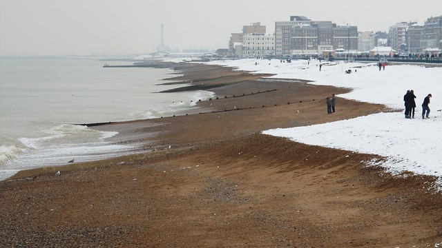 Snow Covered Beach - towards Hove