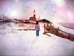Walk to Montauk (thisisbrianfisher) Tags: ocean light lighthouse house snow bird art texture feet beach water girl grass birds female photoshop fence outdoors edited space brian fisher footsteps edit bfish brianfisher thisisbrianfisher
