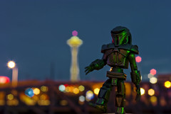 Cylon Heart Space Needle (David R Preston Photography) Tags: seattle longexposure toy washington bokeh spaceneedle centurion cylon battlestargalactica bsg frak pentaxk10d 365toyproject davidrprestonphotography