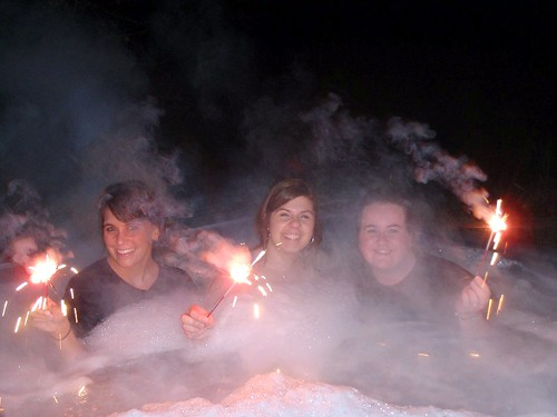 fireworks in hot tub