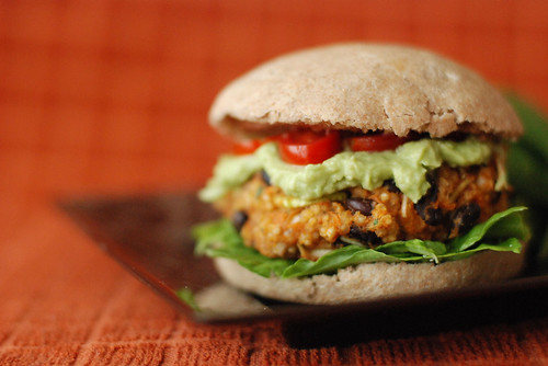 Sweet Potato Black Bean Burgers with Millet and Leeks