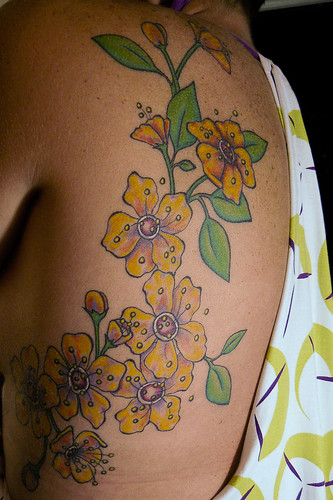 Waist Flower Tattoo