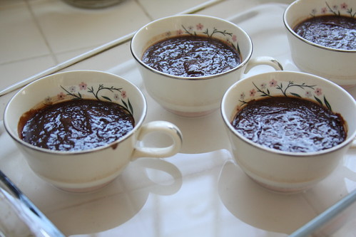 Chocolate pots de creme fresh out of oven