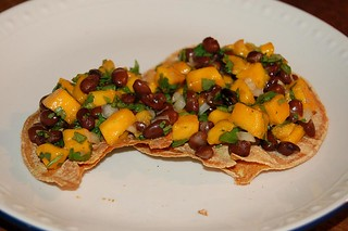 Crispy corn tortillas with black bean & mango ...