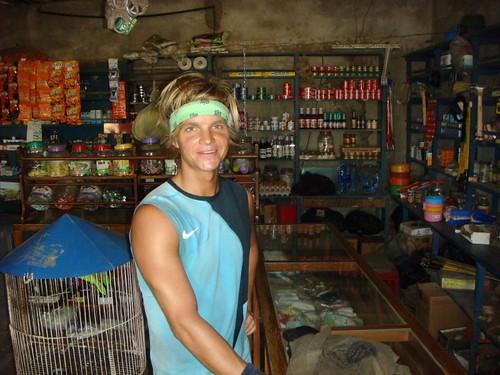 Nicolai in the tienda...