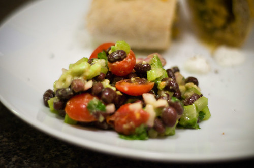 black bean tomato onion and avocado