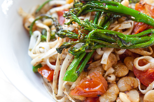 Broccolini, Cherry Tomato, and Butterbean Udon