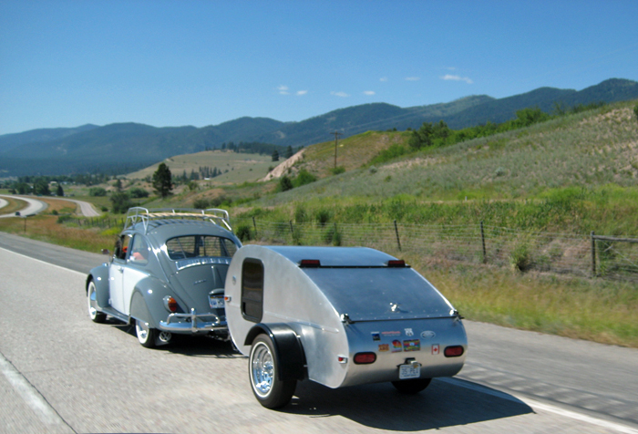 Vintage VW Beetle and Teardrop Trailer