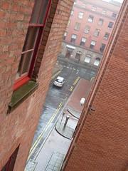 English Summer (Dun.can) Tags: street nottingham summer window rain view downpour redbrick notts stoneystreet