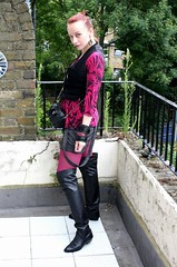 Big boots & short shorts (CalamityJem) Tags: leather vintage bag boots top chain quilted shorts printed gents waistcoat galore bangles 20s thighlength kiltpins