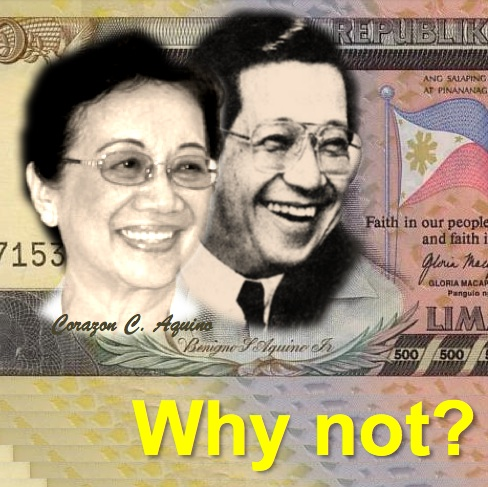 Ninoy and Cory Aquino in the Envisioned 500-Peso Bill. Dont they look good together? Wont you want such bill in your wallet?