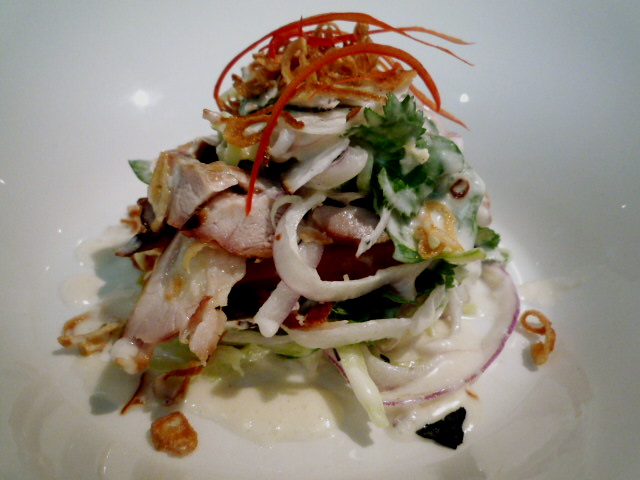Smoked chicken salad with coconut and tamarind dressing