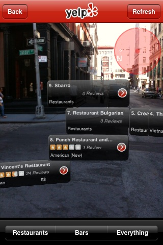 it's not perfect, but the augmented reality feature on yelp is awesome