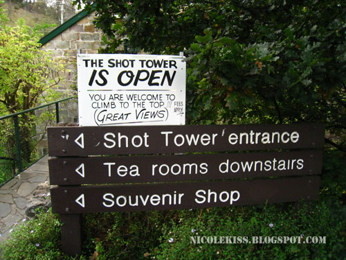 sign in front of shot tower