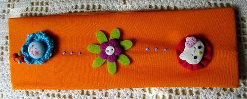Faixa de cabelo laranja Hello Kitty - Ref.26/09
