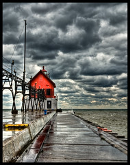 Grand Haven Lighthouse II (Michael C Butler) Tags: sunset lighthouse lake clouds pier michigan lakemichigan hdr highdynamicrange grandhaven grandhavenmi grandhavenlighthouse