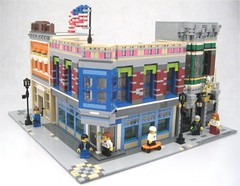 The Home Town Corner (lgorlando) Tags: hardwarestore lego bank pharmacy vernacular firebrigade moc greengrocer cafecorner