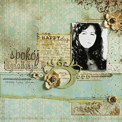 inner peace - layout (latarnia_morska) Tags: old flowers blue brown color handwriting vintage silver scrapbook layout looking antique buttons shell wash page aged prima crocheted distress brads ecru timey 12x12 journaling flourishes paintcrackle