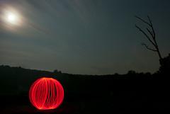 moonlit ball of light II (Vitaliy P.) Tags: new york light red moon ny lightpainting motion tree night clouds ball painting stars dead nikon long exposure bare upstate balloflight d80 18135mm vitaliyp