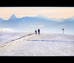 On the top of the snowy hill (Tambako the Jaguar) Tags: winter snow man mountains alps cold sign way switzerland kid nikon child path hill sunny son frame zrich gossau d300 prealps addictedtoflickr aplusphoto grt