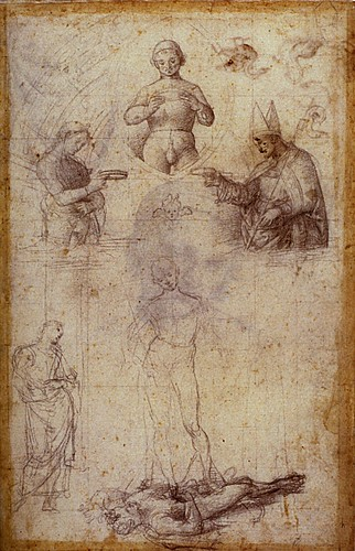 1501  Raphael    Studies for the Coronation of Saint Nicholas of Tolentino, recto  Black chalk  39,4x26,3 cm  Lille, Musйe des Beaux-Arts