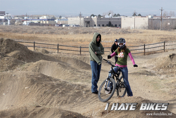 Inga gets some riding tips from co-worker and pro racer Tammy T-Bone