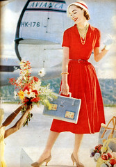 Glamour Magazine fashion photo, 1957 (StevenM_61) Tags: fashion vintage dress retro 1950s 1957 glamourmagazine floralbouquet magazinescan