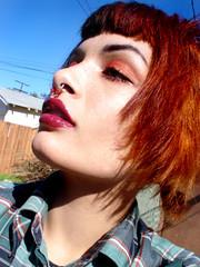 DSC03752 (Hawkeye_Pippi (Melissa Eve)) Tags: red orange selfportrait female kiss oldschool redlips plaid plain blackhair orangehair selfshot pigtailsoldschool