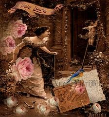 *** True Love *** (Cabinet of Old Secret Loves) Tags: roses love vintage stars book graphics lace antique digitalart victorian angels pixels cherubs digitalcollage