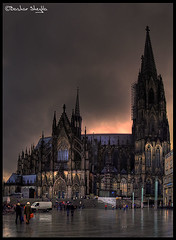Klner Dom ! (Bashar Shglila) Tags: sunset red church rain germany day cathedral dom cologne kln rainy klner aplusphoto