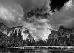 Sunset, Valley View, Yosemite (BJ Anderson) Tags: blackandwhite bw weather yosemite elcapitan valleyview yosemitevalley