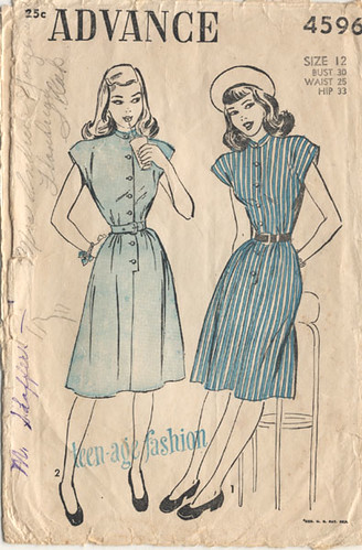 Advance 4596 1947 Teen Swing Dress