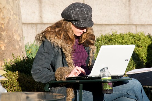 One of the rare non-Apple laptops seen in an otherwise cool park full of cool people by Ed Yourdon.