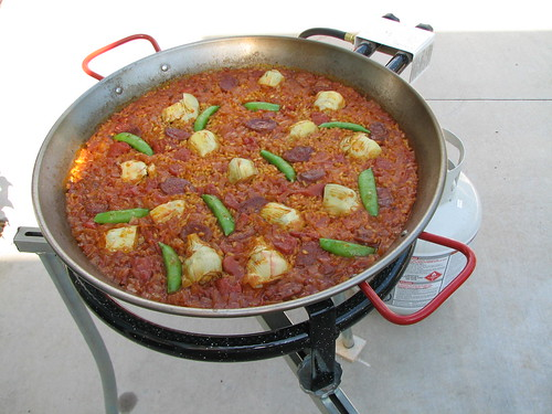 paella with artichokes and snap peas