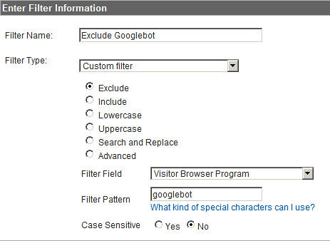 Exclude Googlebot Filter on Google Analytics