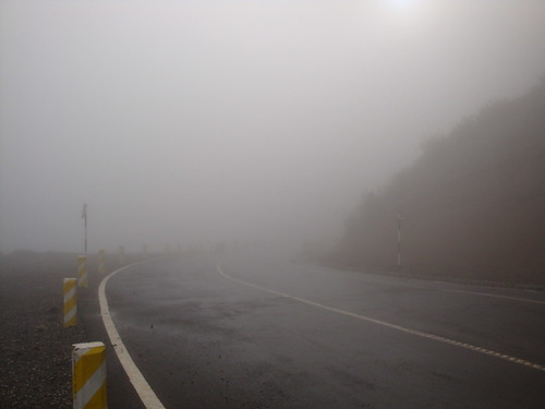 Caution! Foggy road.