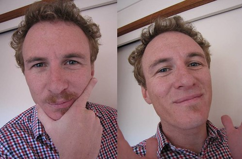 Pre and post moustache shave