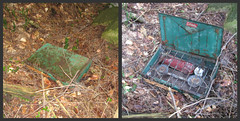 What's Inside (las - initially (Lori Semprevio)) Tags: camping camp rust hiking rusty adirondacks rusted lostandfound coleman colemanstove northvilleplacidtrail campequipment