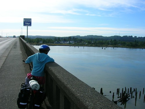 The Chehalis River Bridge, which as a bike with lots of cargo, and little ones, is a nemesis of sorts - that is, in fact, conquerable.