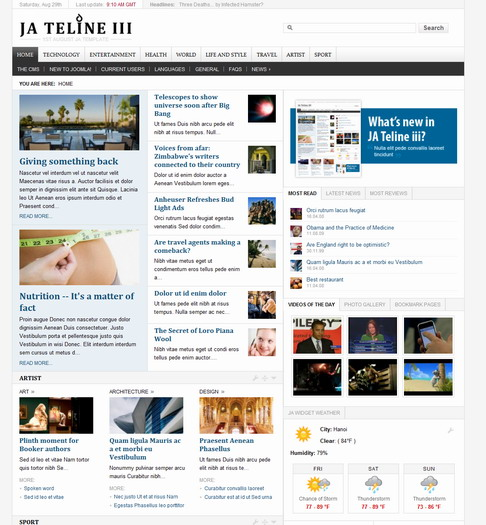 Teline III Stable v1.3 Updated Joomlart Template