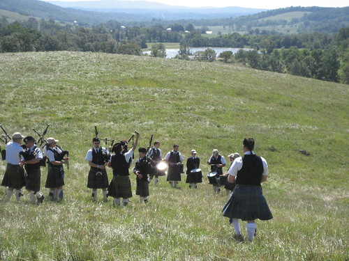 Bagpipers tuning up