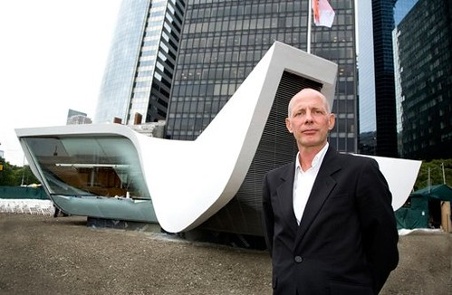 Ben Van Berkel stands before the New Amsterdam Pavilion he designed with his firm UN Studio and Handel Architects located at the Battery. (Courtesy Handel Architects)