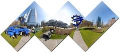 Cube (Seb Przd) Tags: blue panorama sign umbrella germany deutschland pattern hessen map euro frankfurt pano 360 projection cube 360x180 frankfurtammain 360 foldable hugin willybrandtplatz enblend eurotower conformal sebprzd sbprzd ecb36017cube