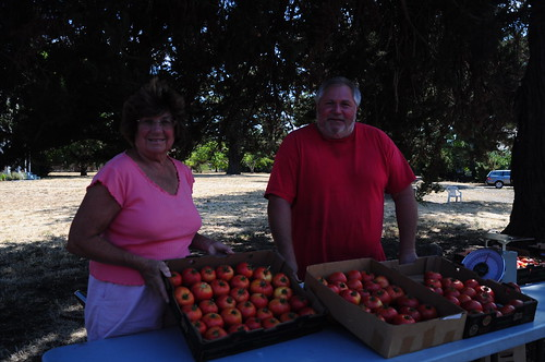 Aldo Ritz and his wife Terri display their most excellent tomatoes.