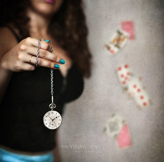 tick-tock. (*northern star) Tags: blue selfportrait blur clock me girl azul self diamonds canon hearts cards 50mm chica dof